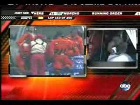 Marco Andretti flip at the 2007 Indy 500 (live)