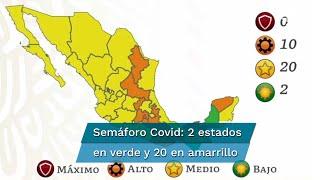 En la actualización del semáforo de riesgo epidémico nacional de este 26 de febrero, 2 entidades pasaron al color verde, Chiapas y Campeche; además 10 se ubican en color naranja. La actualización del semáforo de riesgo epidemiológico estará vigente del 1 al 14 de marzo