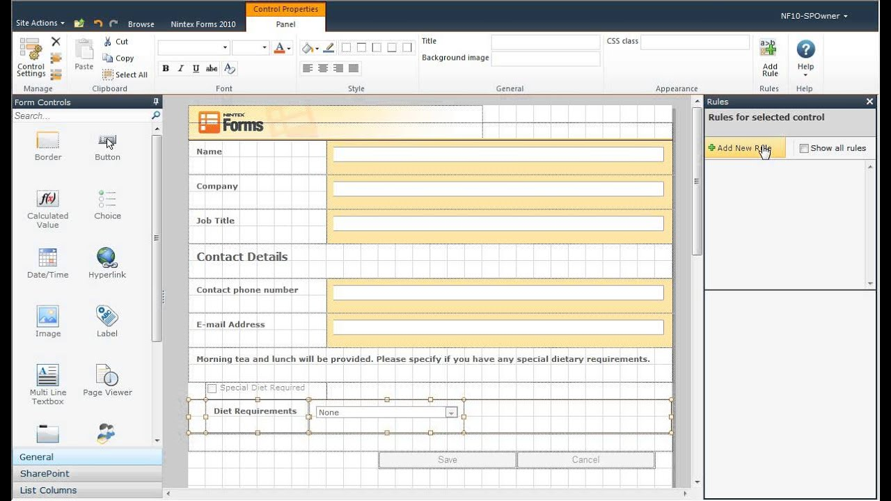 Show And Hide Controls Using Rules In Nintex Forms For