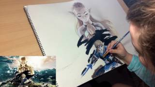 LEGEND OF ZELDA - BREATH OF THE WILD (TIME-LAPSE PAINTING)
