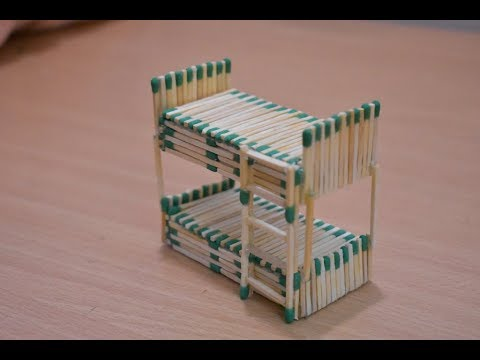 Matchstick Art and Craft Ideas | How to Make Matchstick Miniature Furniture  Double Bed
