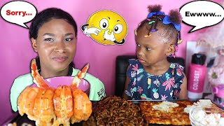 PASSING GAS PRANK ON LAYLA + HUGE CAJUN PRAWNS & JJAJANGMYEON (SEAFOOD  MUKBANG) | QUEEN BEAST