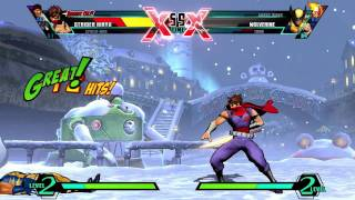 Ultimate Marvel vs Capcom 3 Gameplay - Strider vs Ghost Rider
