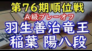 将棋 棋譜並べ ▲稲葉 陽八段 △羽生善治竜王 第76期順位戦A級プレーオフ 「技巧2」の棋譜解析 No.1646 相掛かり  Shogi/Japanese Chess