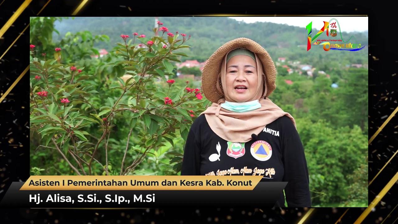 Ucapan HUT Ke-14 Kabupaten Konawe Utara Hj. Alisa, S.Si., S.Ip., M.Si
