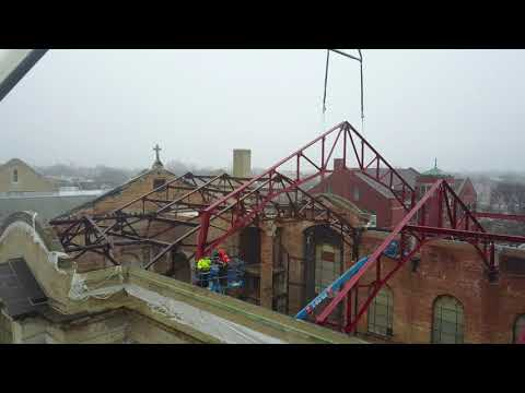 Installation of Truss 3 at the Shrine of Christ the King, Chicago