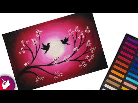 Scenery drawing of love birds with soft pastels - pastel drawing