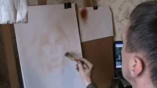 Цветной портрет , сухая кисть 1