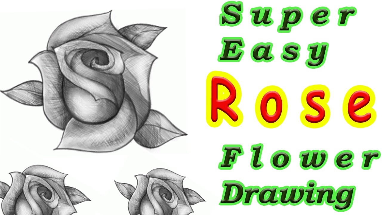 Super Easy Tutorial  How To Draw A Rose Flower Step By Step  Flower  Drawing