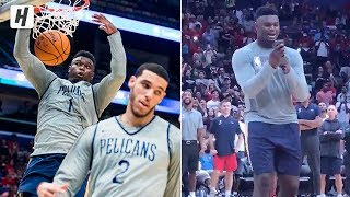Zion Williamson CRAZY Highlights at Pelicans Open Practice! Lob from Lonzo! Singing Whitney Houston!