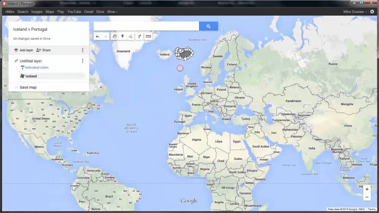 Google My Maps How to Outline and Drag a Country - YouTube