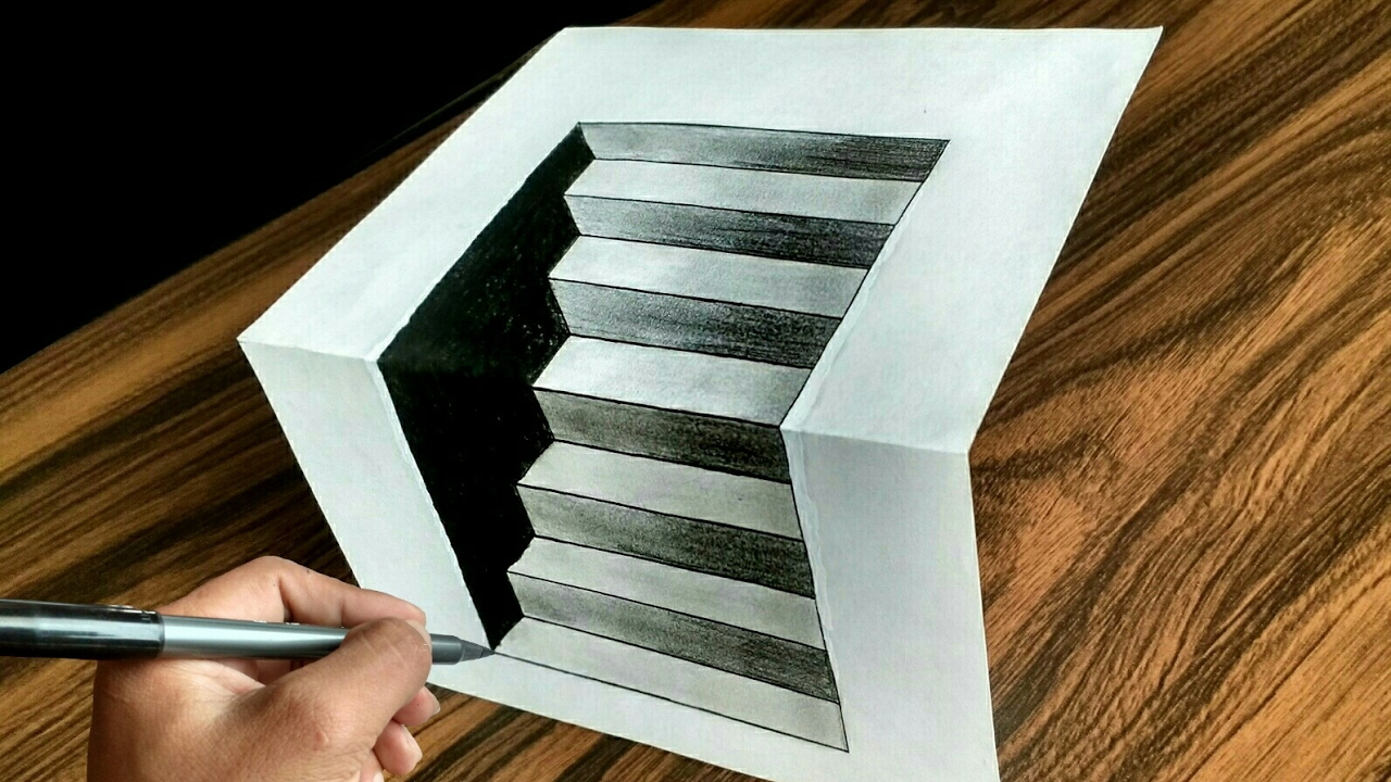 Treppenaufgang Tapezieren 3d Stairs - How To Draw Easy 3d Stairs Optical Illusion