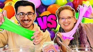 Skittles SLIME Challenge 🌈 Eva vs Claudio 🌈 Wer macht den BUNTESTEN Schleim? DIY Challenge