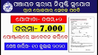 ପଞ୍ଚାୟତ ସ୍ତରୀୟ ନିଯୁକ୍ତି ସୁଯୋଗ । ଦଶମ /+2 ପାସ ପିଲାଙ୍କ ପାଇଁ ନିଯୁକ୍ତି ସୁଯୋଗ ।Odisha latest panchyata job