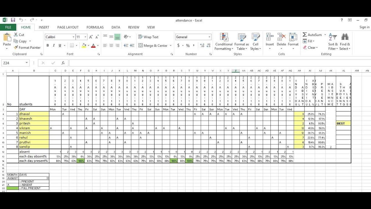 teachers attendance sheet