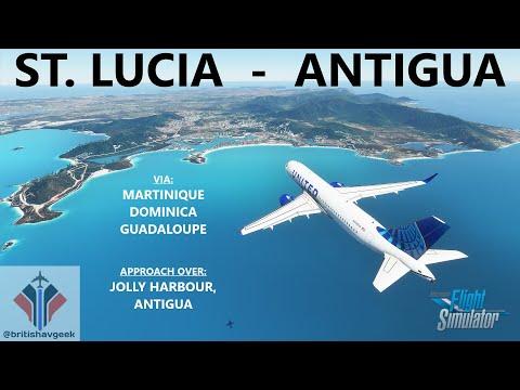 ST. LUCIA to ANTIGUA on Microsoft Flight Simulator 2020 - Full Flight in FHD! Livery Mega Pack!