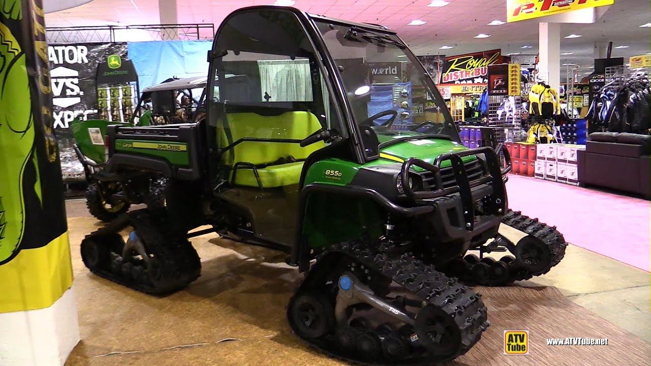 John Deere Gator Plow >> 2016 John Deere Gator XUV 855D Diesel with Camoplast T4S Trail Kit - Walkaround - YouTube