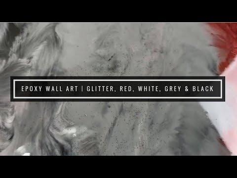Epoxy Wall Art Piece | Red, White, Grey, Black
