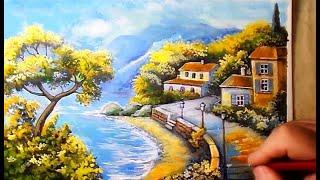 Рисуем средиземноморский пейзаж акрилом поэтапно