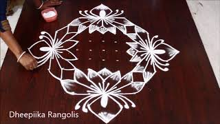 Beautifull lotus rangoli design with 13 - 1 dots * friday kolam design * latest muggulu rangoli