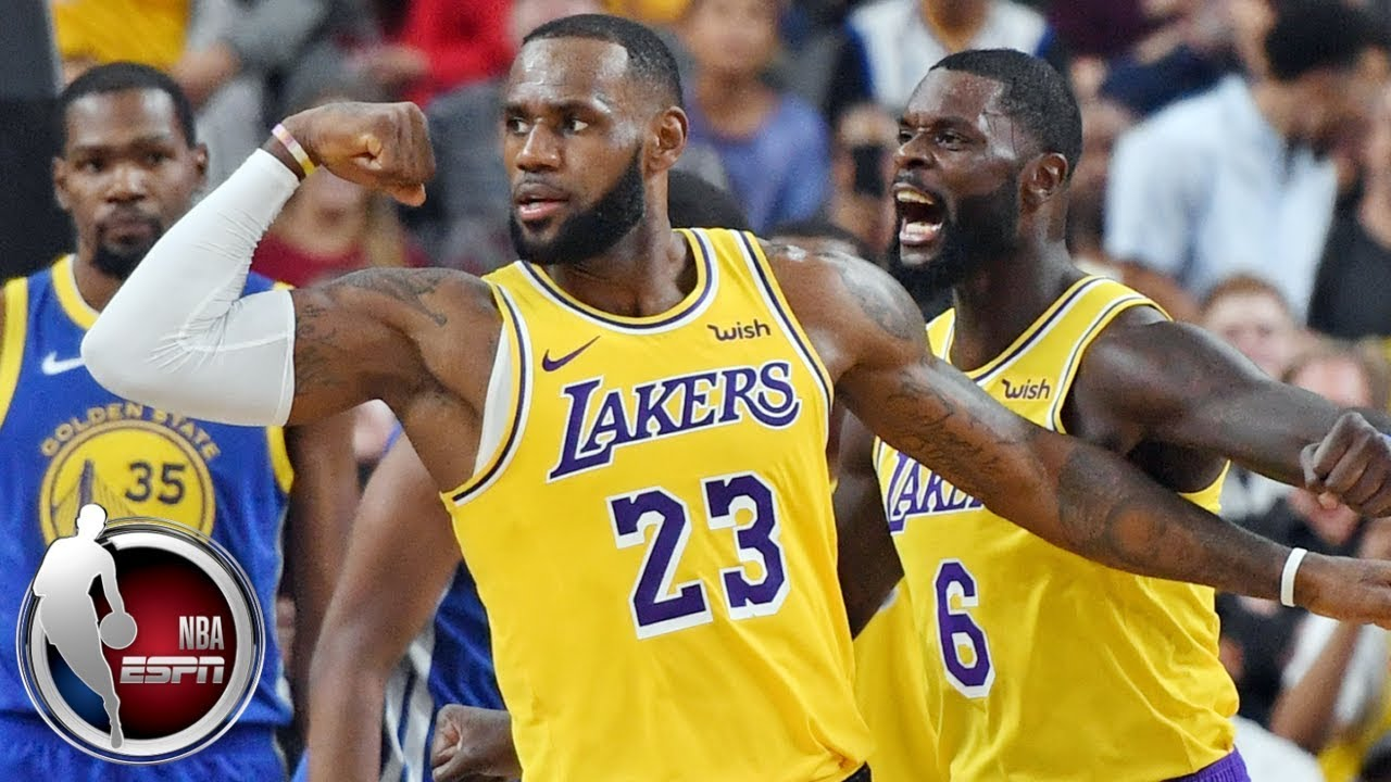 Lebron Lakers >> Lebron James Posts Double Double In Lakers Vs Warriors Nba Preseason Highlights