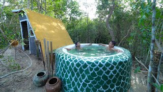 Build The Most Long Cabin House With Bath Pool In Deep Forest
