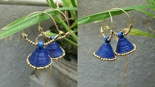 Blue paper earrings DIY in 5 mins| Quilling earrings tutorials#3