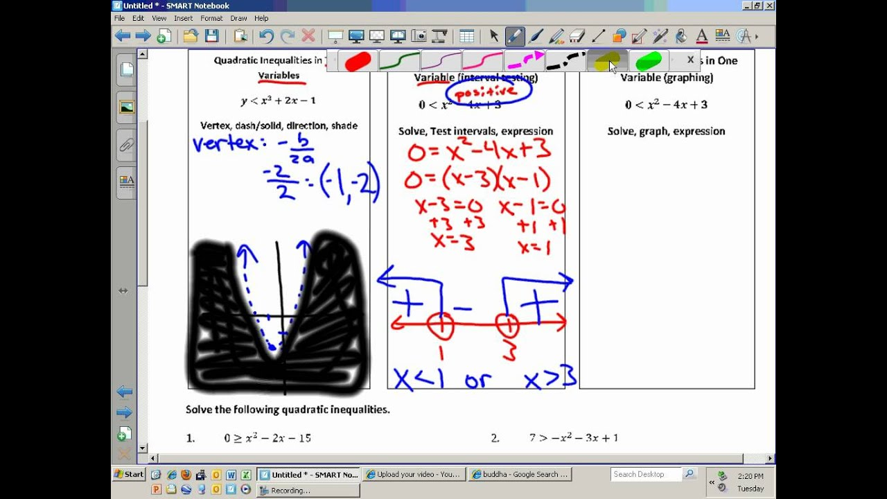 Algebra Ii Unit 5 7 Worksheet Solving Quadratic Inequalities Wmv