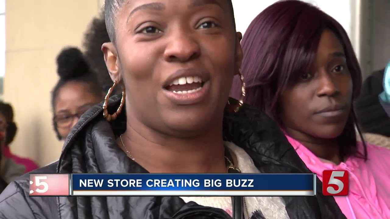 Huge Crowd Stand In Line For Black Owned Roots Hair & Beauty store opens in Nashville..