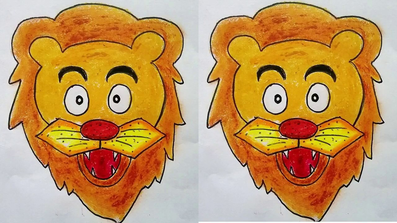 How to draw lion face step by step, sketch for making Lion Face Mask , very  easy lion mask for kids