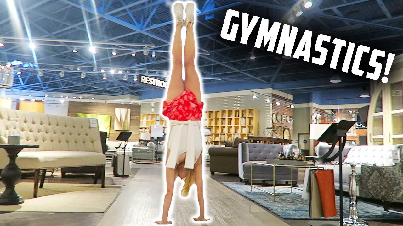 TRYING GYMNASTICS AT A FURNITURE STORE LIVING SPACES (DAY