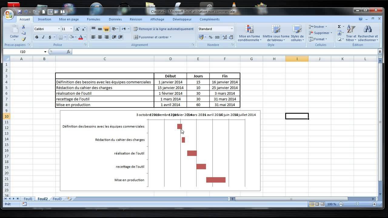 Realiser Un Diagramme De Gantt Sur Excel Simple Lien Fichier
