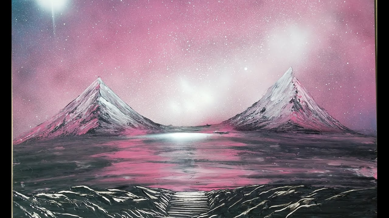 spray paint art tutorial pink galaxy landscape mountain