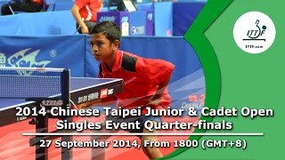 Table Tennis: 2014 Chinese Taipei Junior & Cadet Open (Singles Event Quarter-Finals)