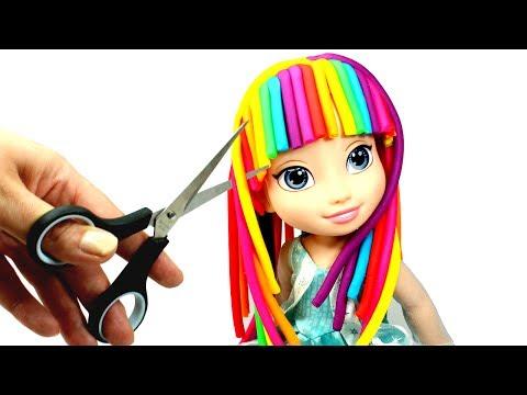 How To Make Play Doh Hair Elsa Rainbow Hair Makeover