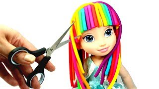 How to Make Play Doh Hair Elsa Rainbow Hair Makeover | Making and Cutting Play Doh Hairstyles