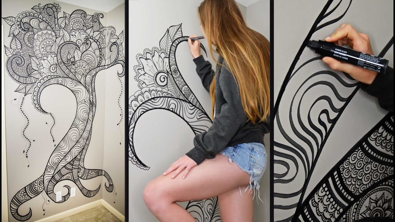 Henna Tree Wall Art | Mehndi Design - YouTube