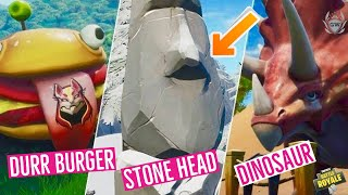 Visit Drift Painted Durr Burger Dinosaur And Stone Head Statue  Fortnite Road Trip mission