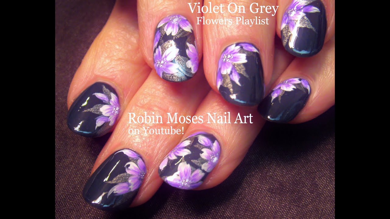 Nail Art Purple And Gray Flower Nails Floral Nail Design