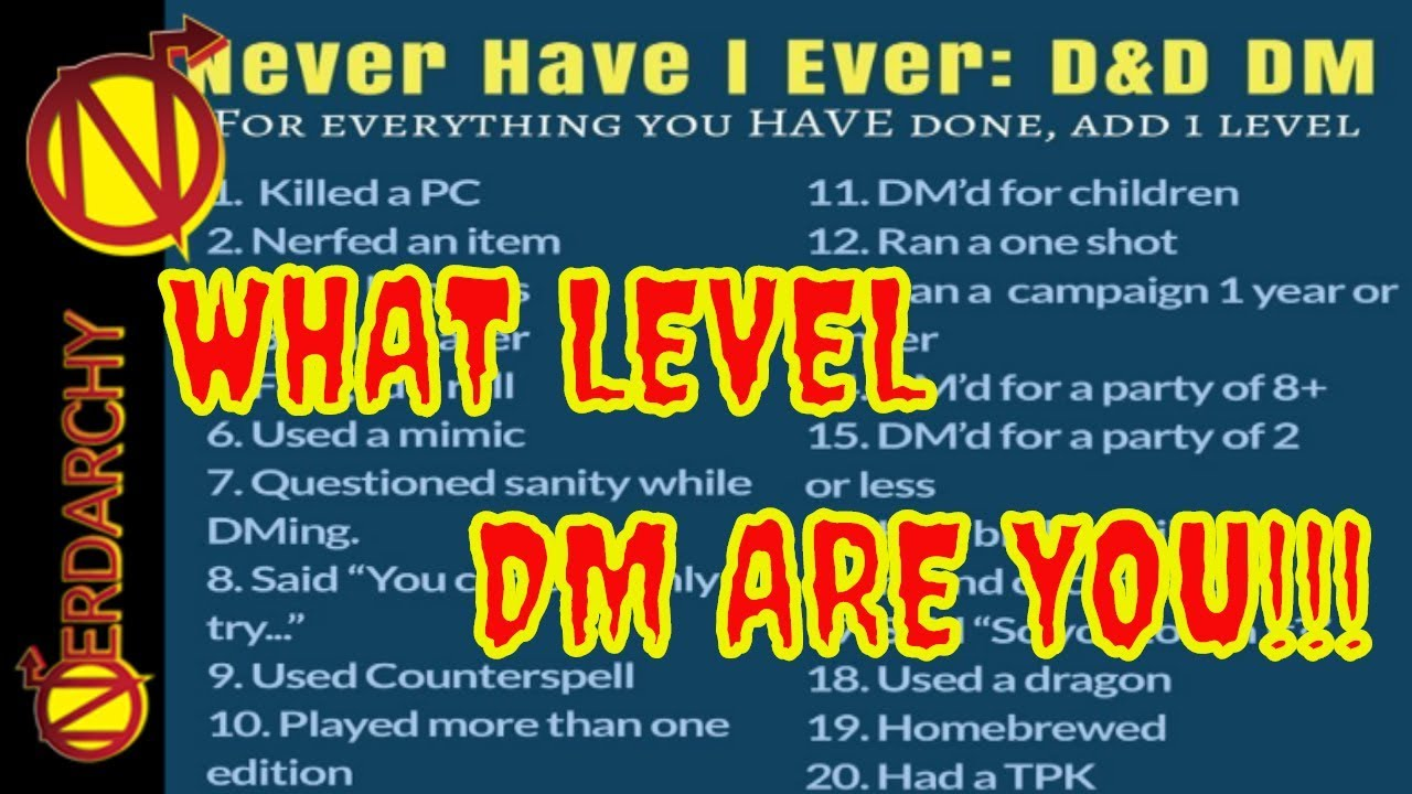 Dungeon Master Have You Ever- D&D Discussion