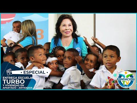 Dra María Luisa Piraquive entrega escuela en Turbo - Antioquia y Viviendas en Colombia y Ecuador
