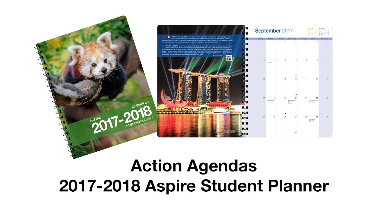 aspire student day planner by action agendas youtube