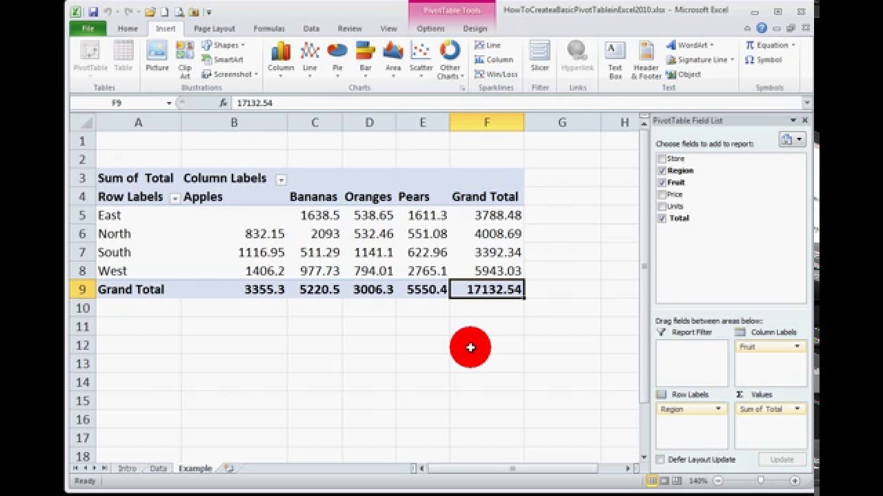 how to create a basic pivot table in excel 2010 youtube