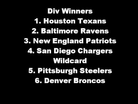 2012-13 NFL Predictions - Playoffs/Season Awards