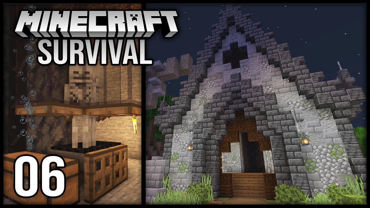 Minecraft 1.17 Survival Let's Play - Episode 6 - Early XP Skeleton Farm + Graveyard Building!