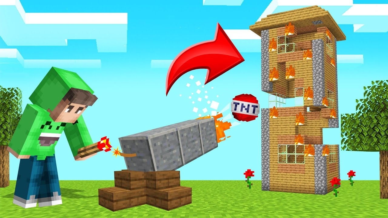 TROLLING My FRIEND With A TNT CANNON! (Minecraft) thumbnail