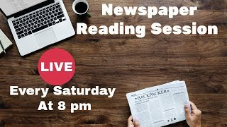 Newspaper Reading Session Live|How To Read Newspaper| Learn English Through Newspaper