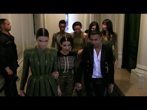 EXCLUSIVE - Kim Kardashian and Kendall Jenner leave Balmain with fellow models and Olivier Rousteing
