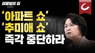 [김광일의 입] '아파트 쇼' '추미애 쇼'를 즉각 중단하라