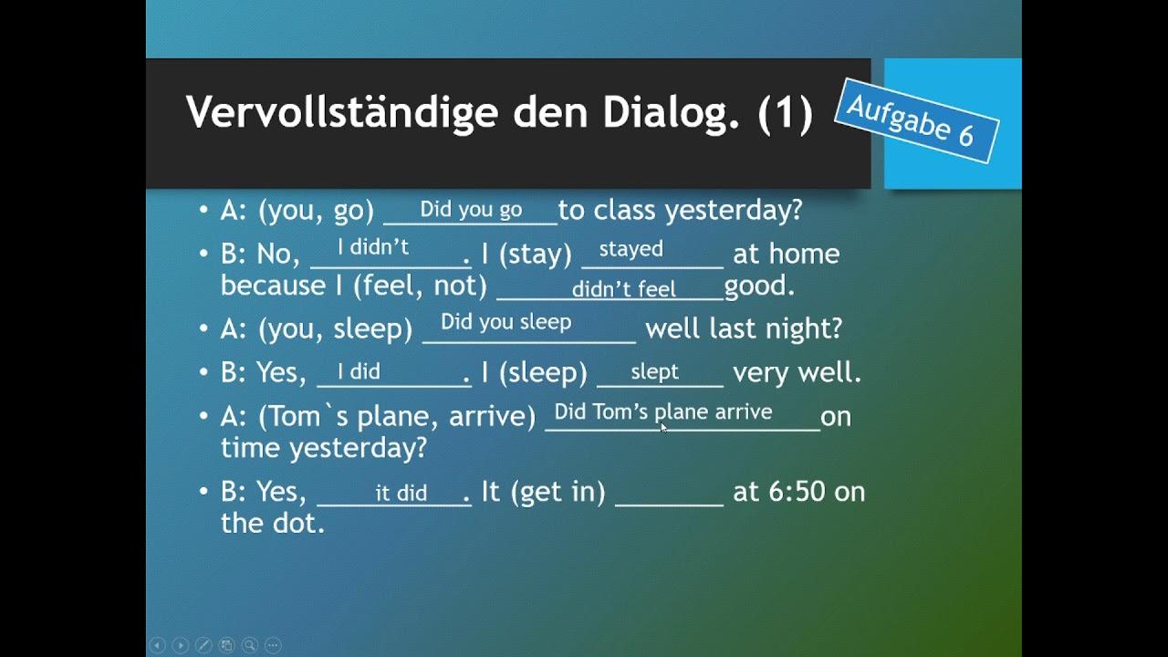 Englisch Übungen   Das simple past anwenden Teil 2 - YouTube